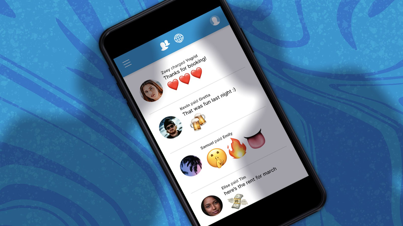 Image of a mobile phone with Venmo's app that is displaying different public transactions. There are 2 shadows representing figures viewing a users public information.