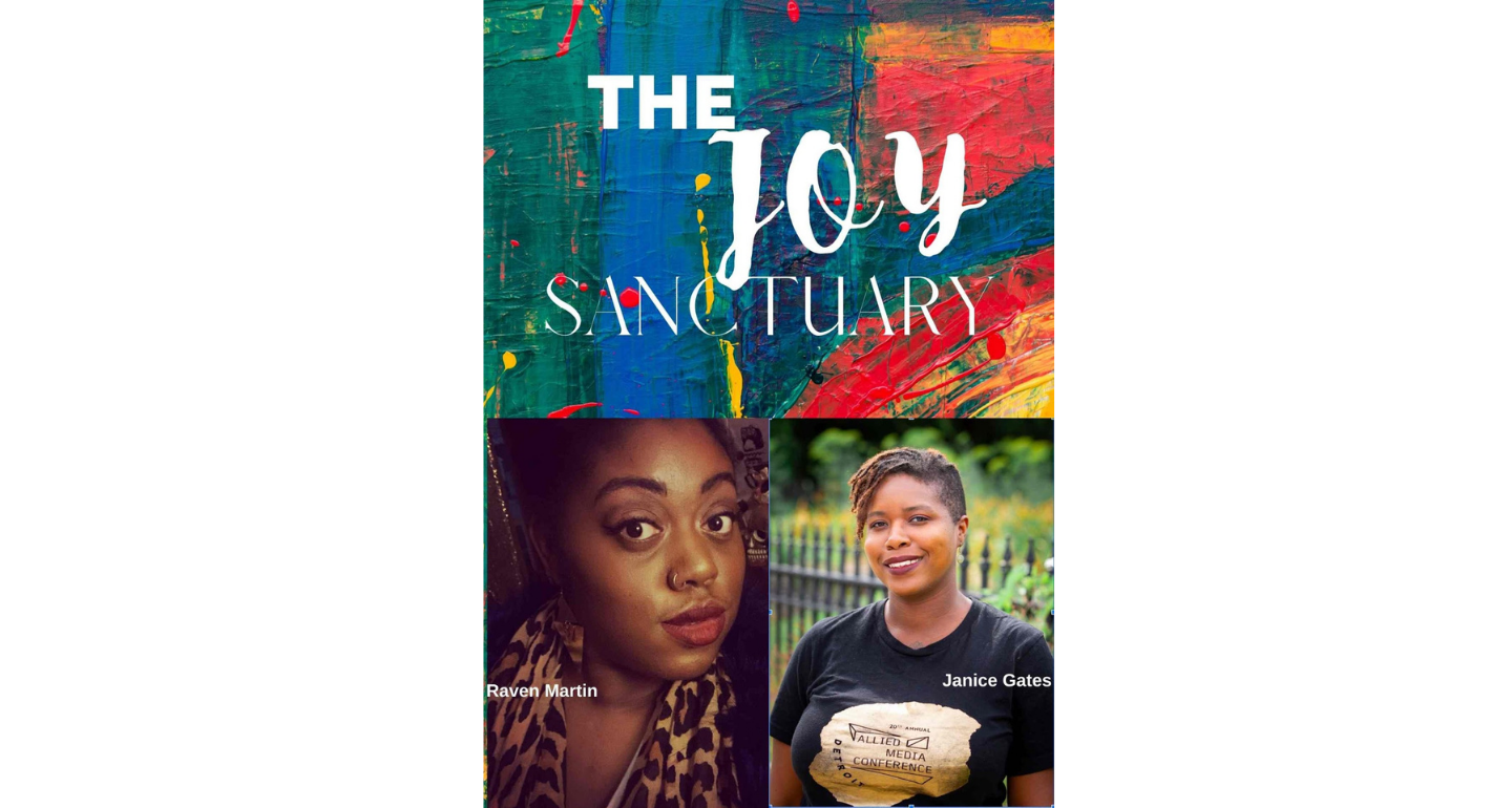 "a collage of images - one image on the top with colorful background that says ""The Joy Sanctuary"" in white font. Two images on the bottom of people looking at the camera"