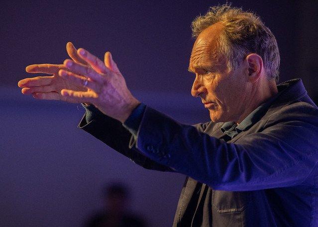 Tim Berners-Lee onstage at MozFest 2018