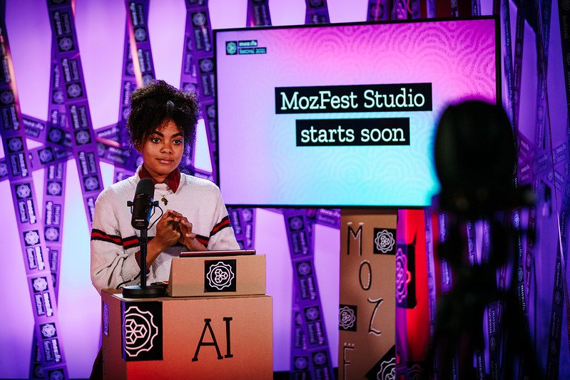 Our MozFest Studio presenter Dzifa waits for her cue to start the show