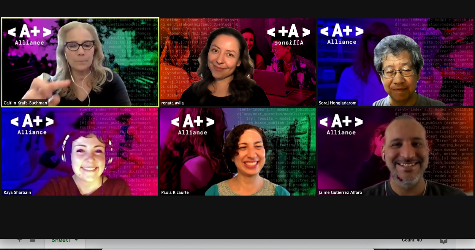 A screenshot of 6 people on zoom (headshots) looking at the camera and smiling. They have colorful backgrounds that all say A+ Alliance.