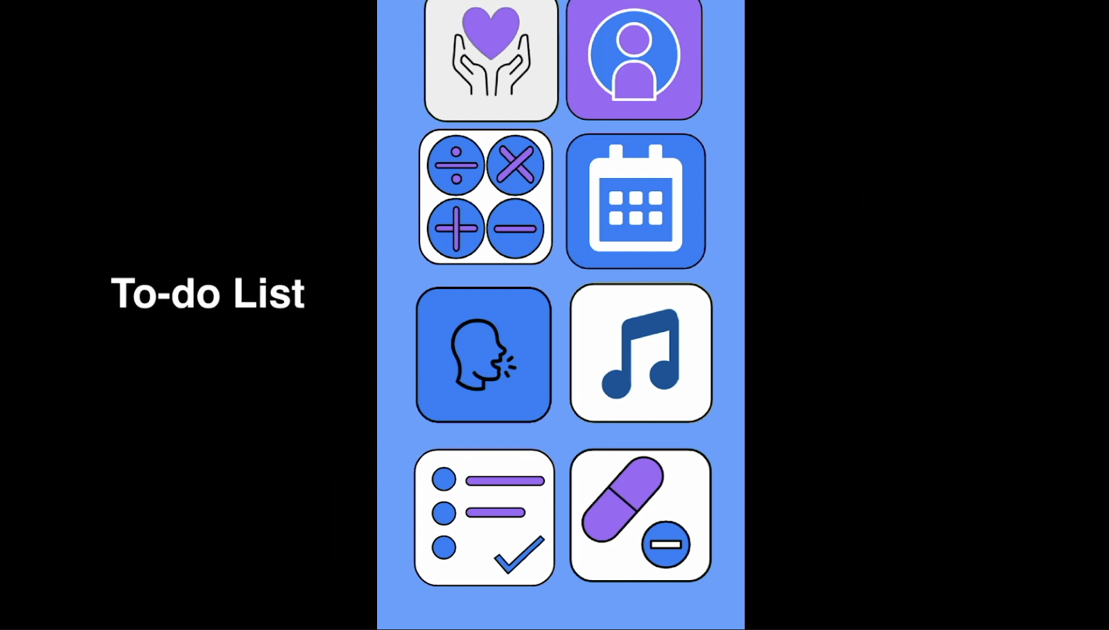 """A screenshot of an app with a blue theme against a black background with the words """"to do list"""" in white text."""
