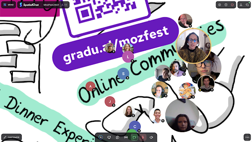Screenshot of mixed media art and circular icons of people attending the vent all gathered together to chat.