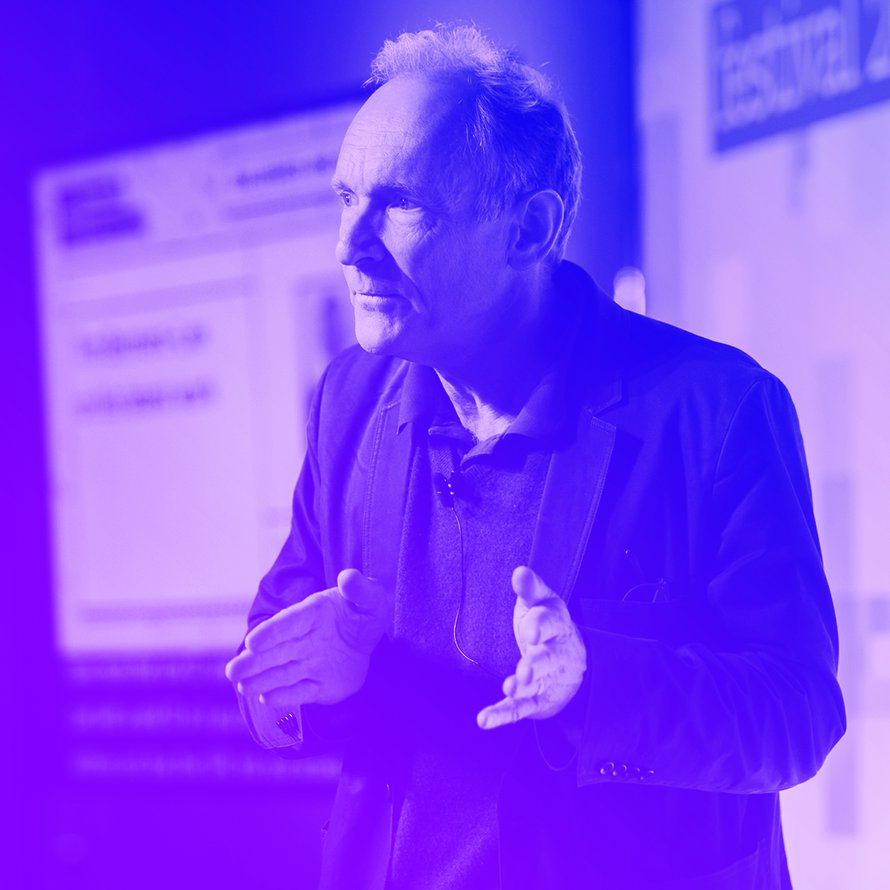 A photograph of Tim Berners Lee on stage at Mozilla Festival 2018.