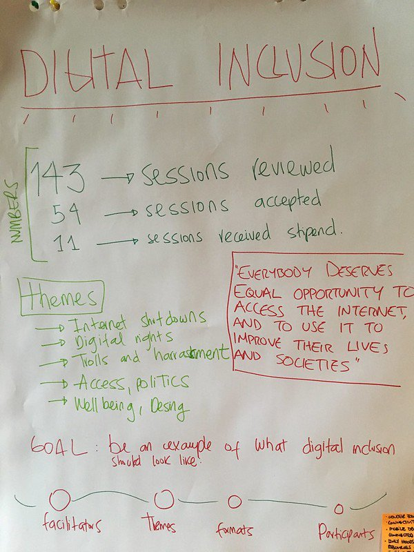 Digital Inclusion Poster with themes and goals written | Photo by Stephanie Wright at MozRetreat 2019