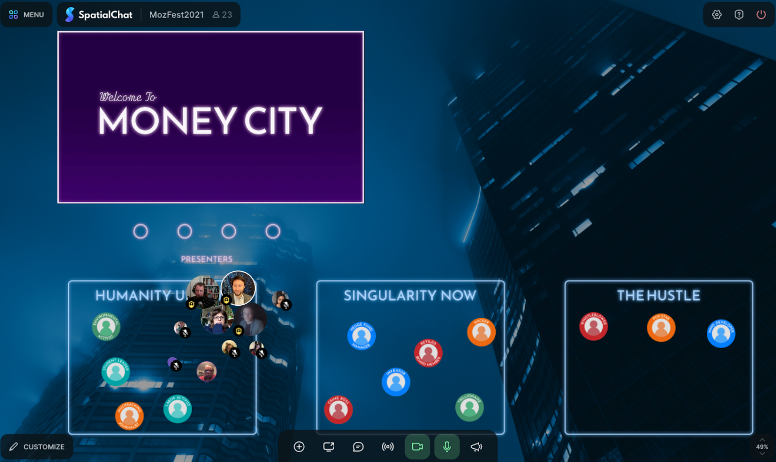 "Screenshot of computer screen during money simulation game - blue, dark background with a purple box in the left hand corner that says ""Money City"" and other rectangles at the bottom where people icons are congregating."
