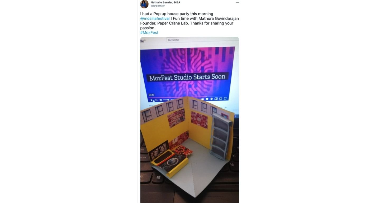 Screenshot of tweet sharing pop up paper house from MozFest