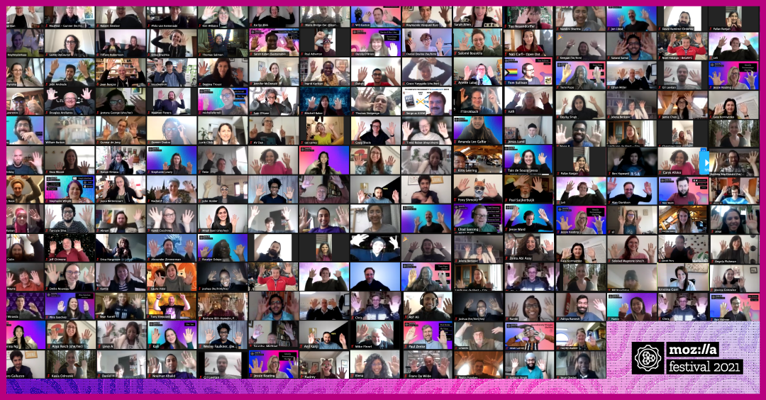 A rectangular grid of nearly 200 MozFest participants' Zoom feeds showing them cheering the festival with the MozFest logo at bottom right.