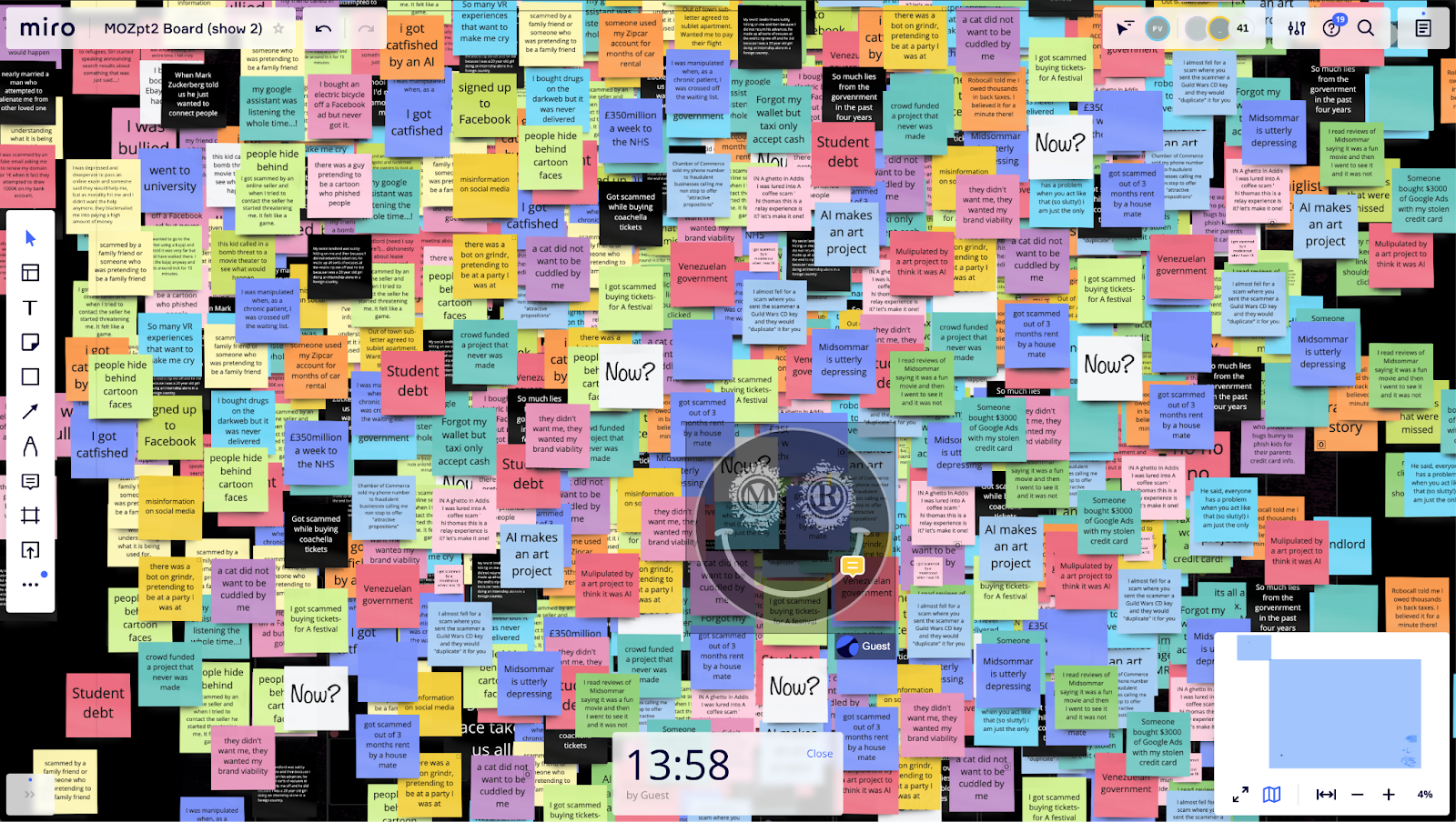 A screenshot of virtual sticky notes