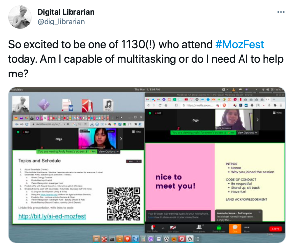 image of a tweet sharing thoughts on MozFest