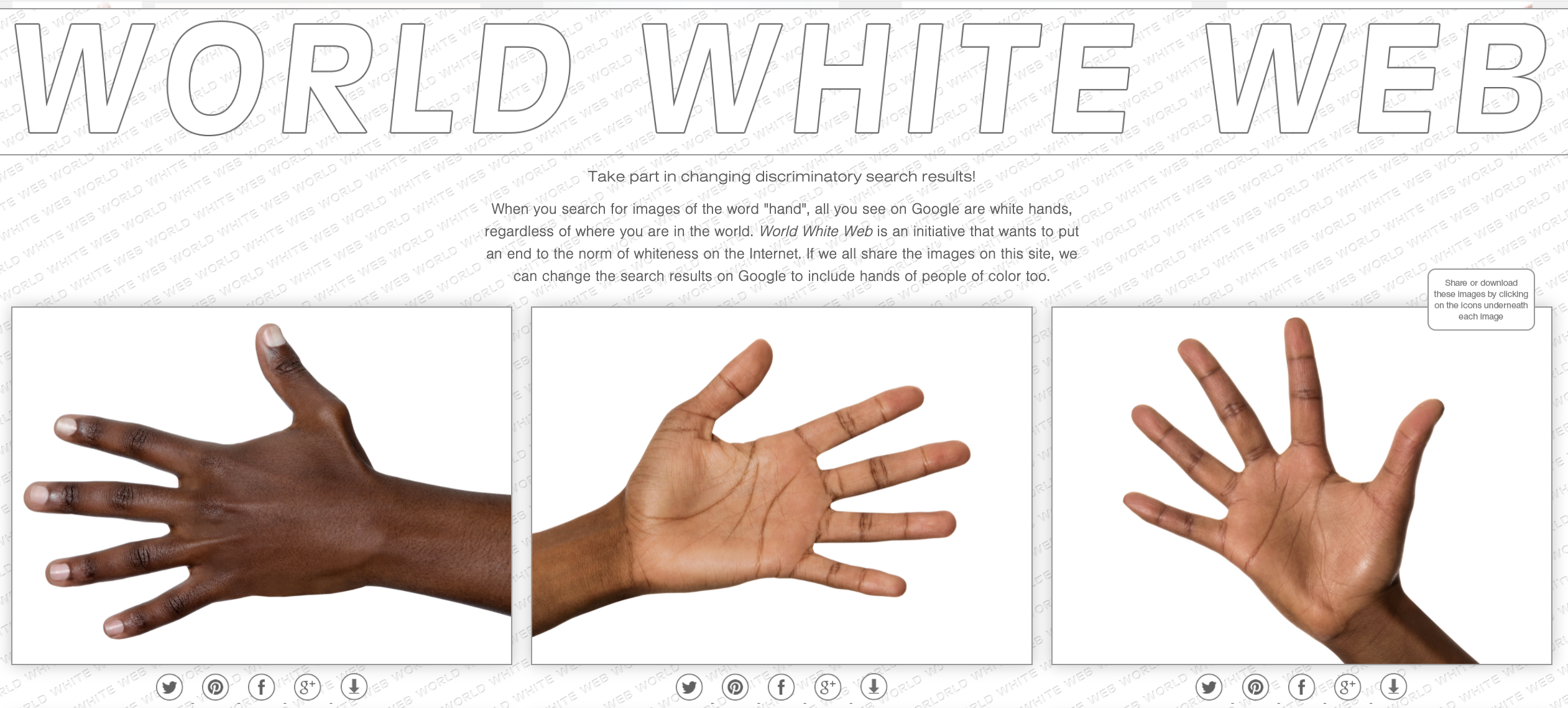Screenshot from Burai's World White Web project, showing three images of dark-skinned hands and text asking users to share the images to influence their ranking in Google Photos