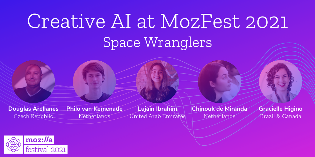 headshot of five people leading MozFest's Creative AI Space with their names and locations, on a purple and pink background