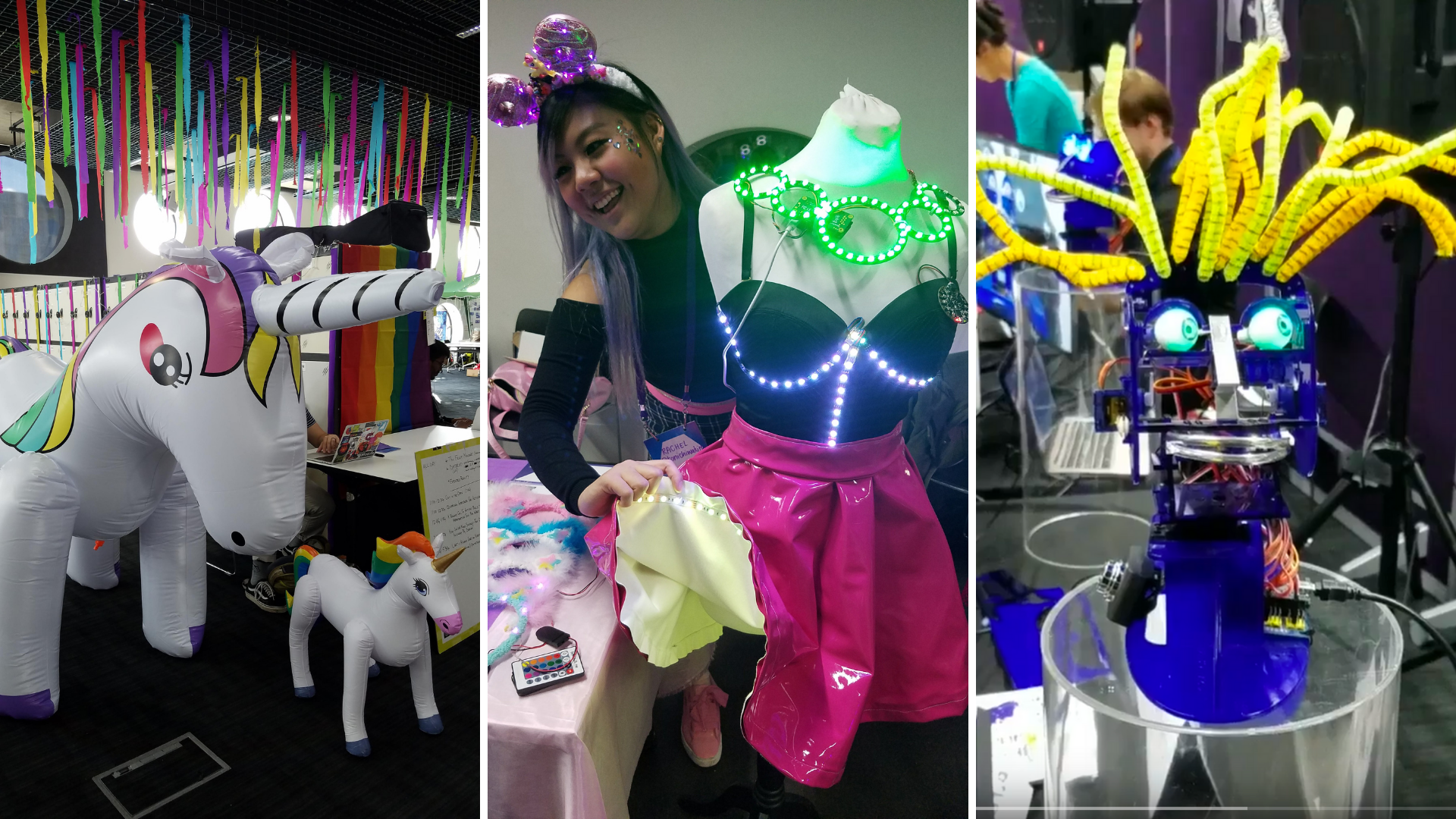 Three photos in a collage. Right: colorful outfit on a mannequin with a person standing behind it. Middle: A person standing on a red carpet and a colorful archway Left: A purple robot with wild yellow hair, eyes, and a mouth