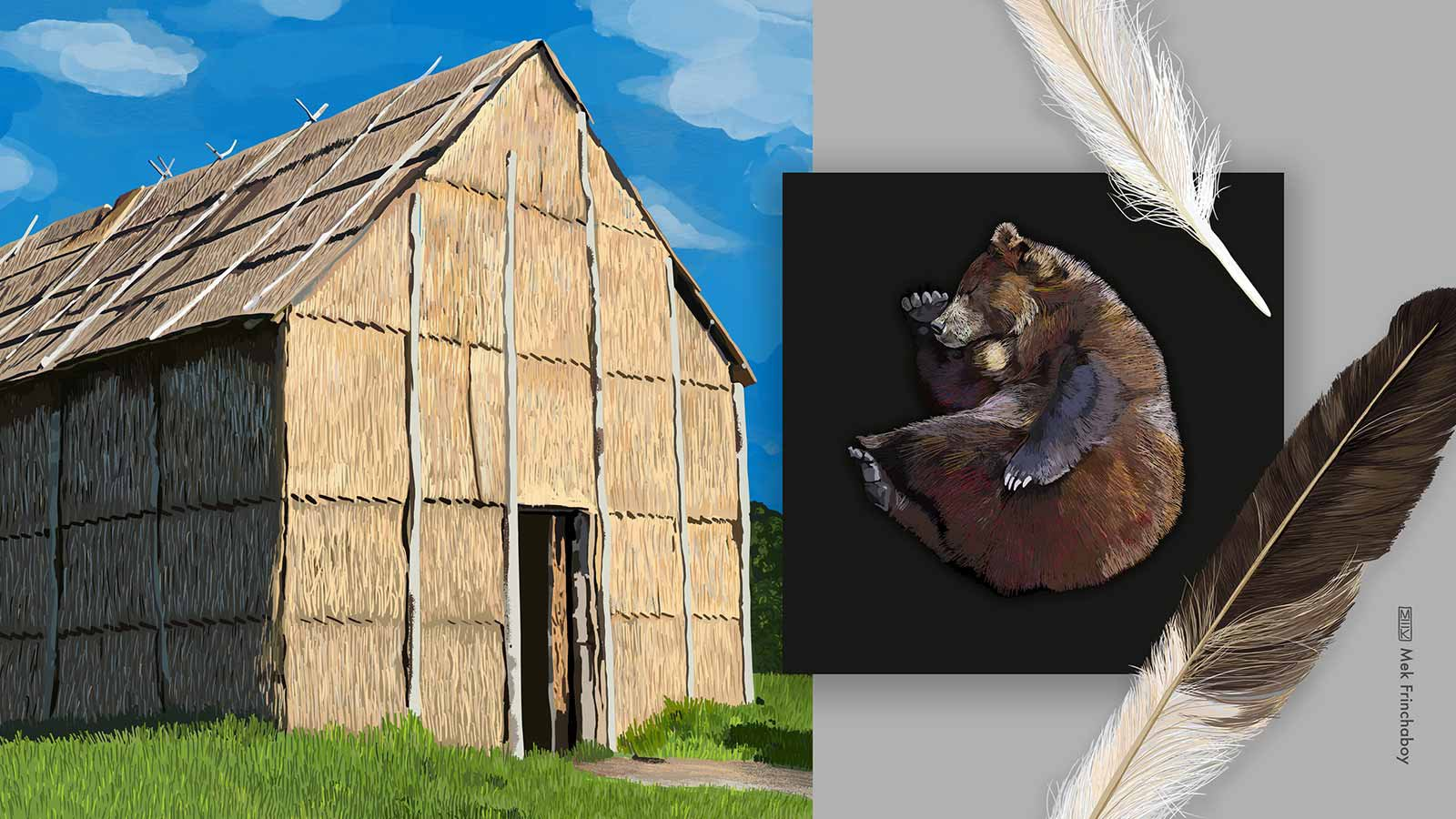 Illustration of longhouse, bear, and feather