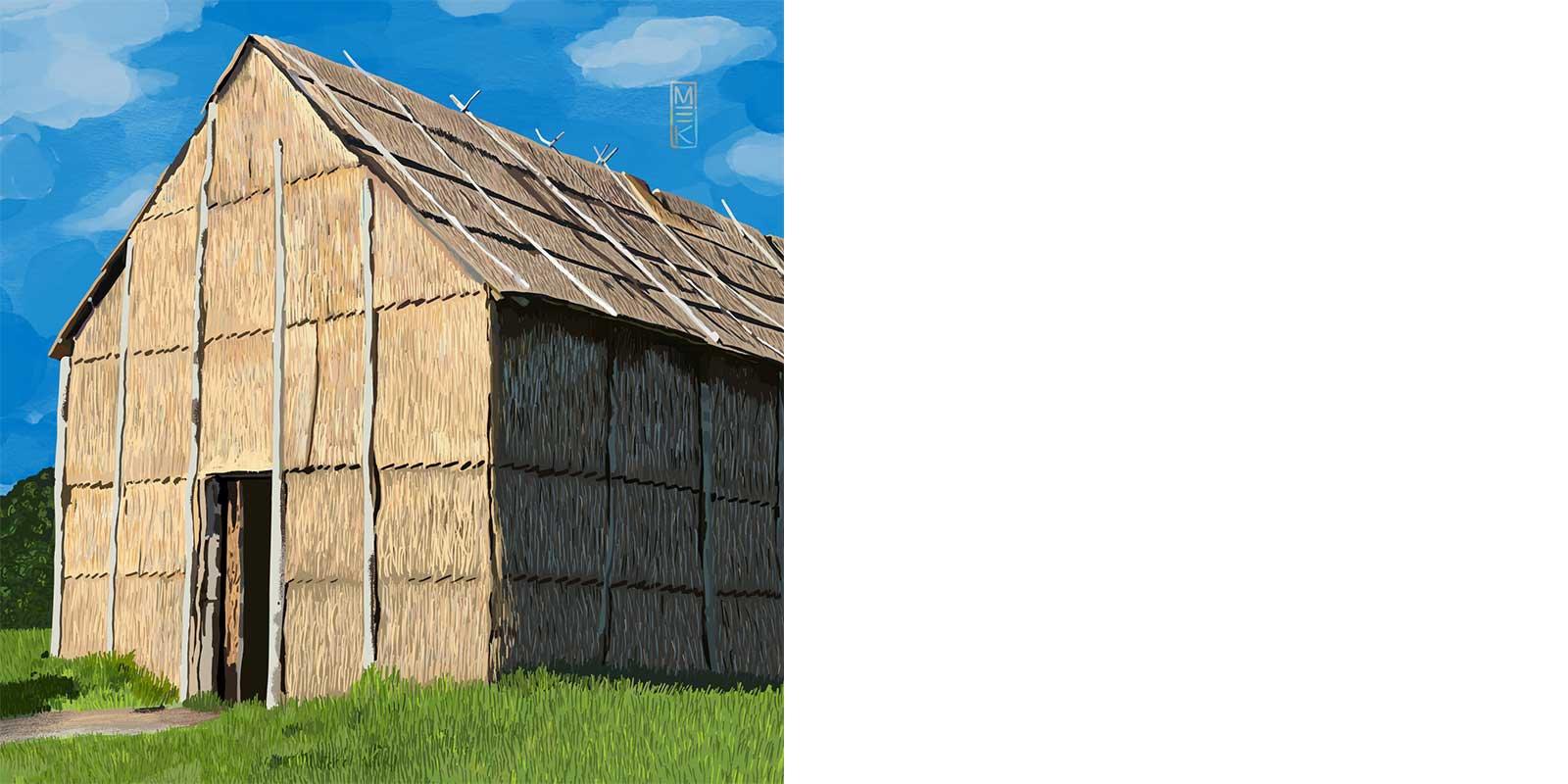 Illustration by Mek Frinchaboy of the Longhouse at Ganondagan in Victor, NY