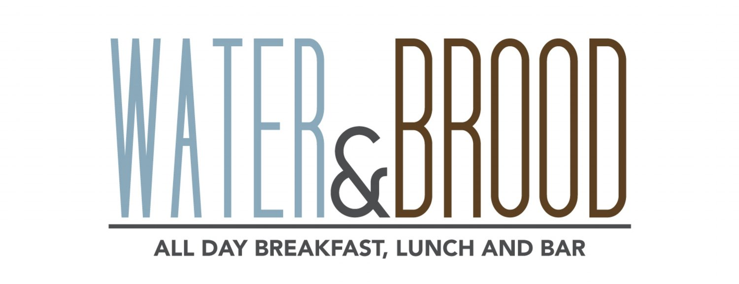 """Water & Brood logo in large letters with smaller tagline """"All Day Breakfast Lunch and Bar"""""""