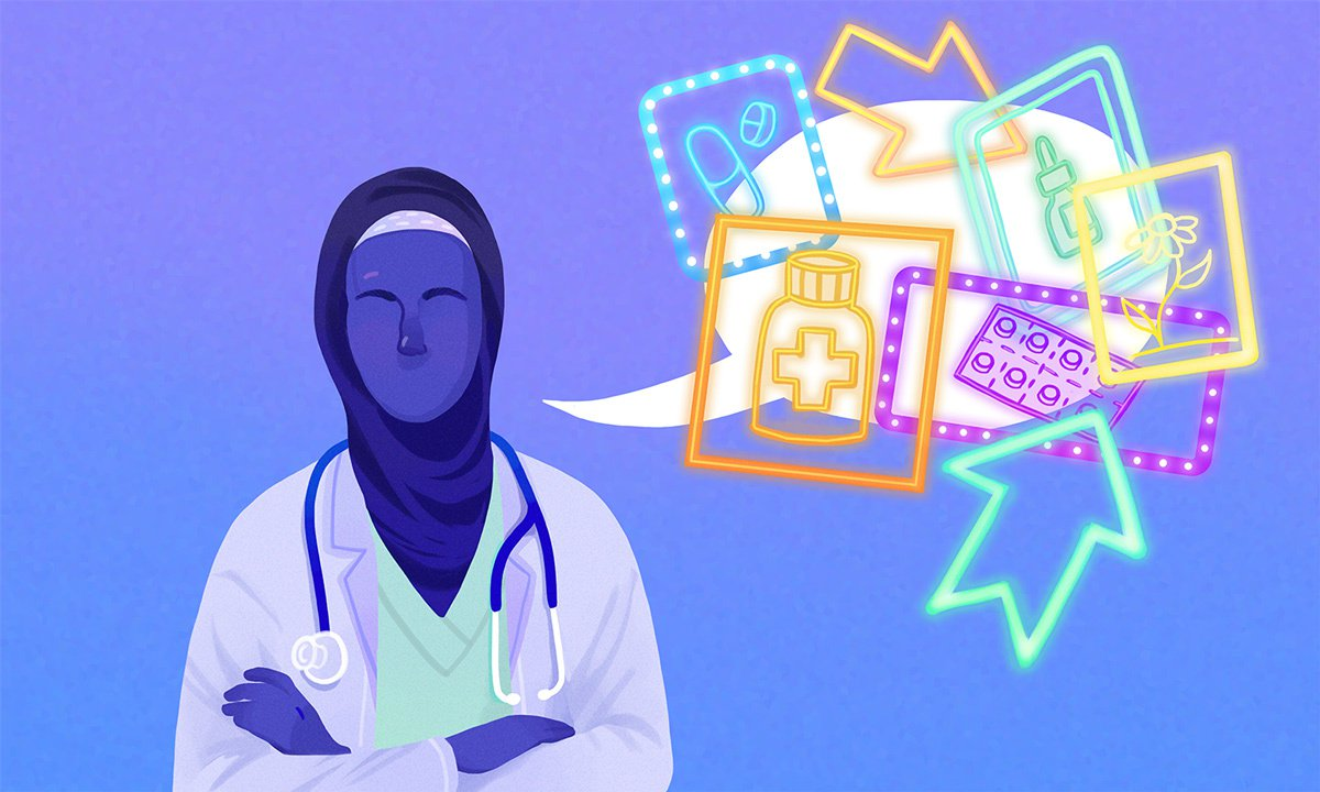 illustration of a doctor with speech bubble covered by flashy ads