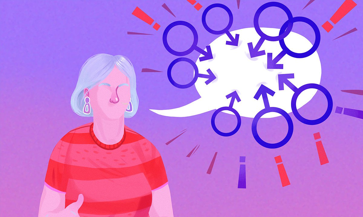 Illustration of a woman with speech bubble blocked by male symbols