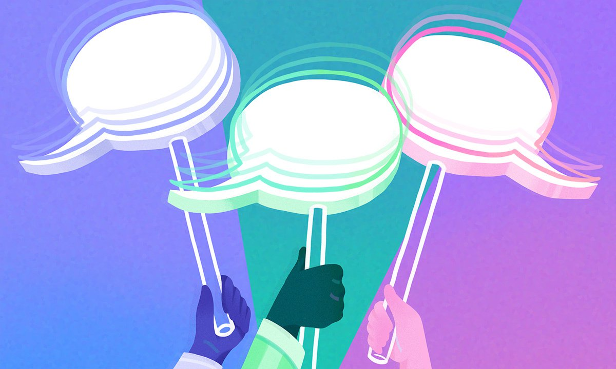 illustration of three hands holding up signs with speech bubbles