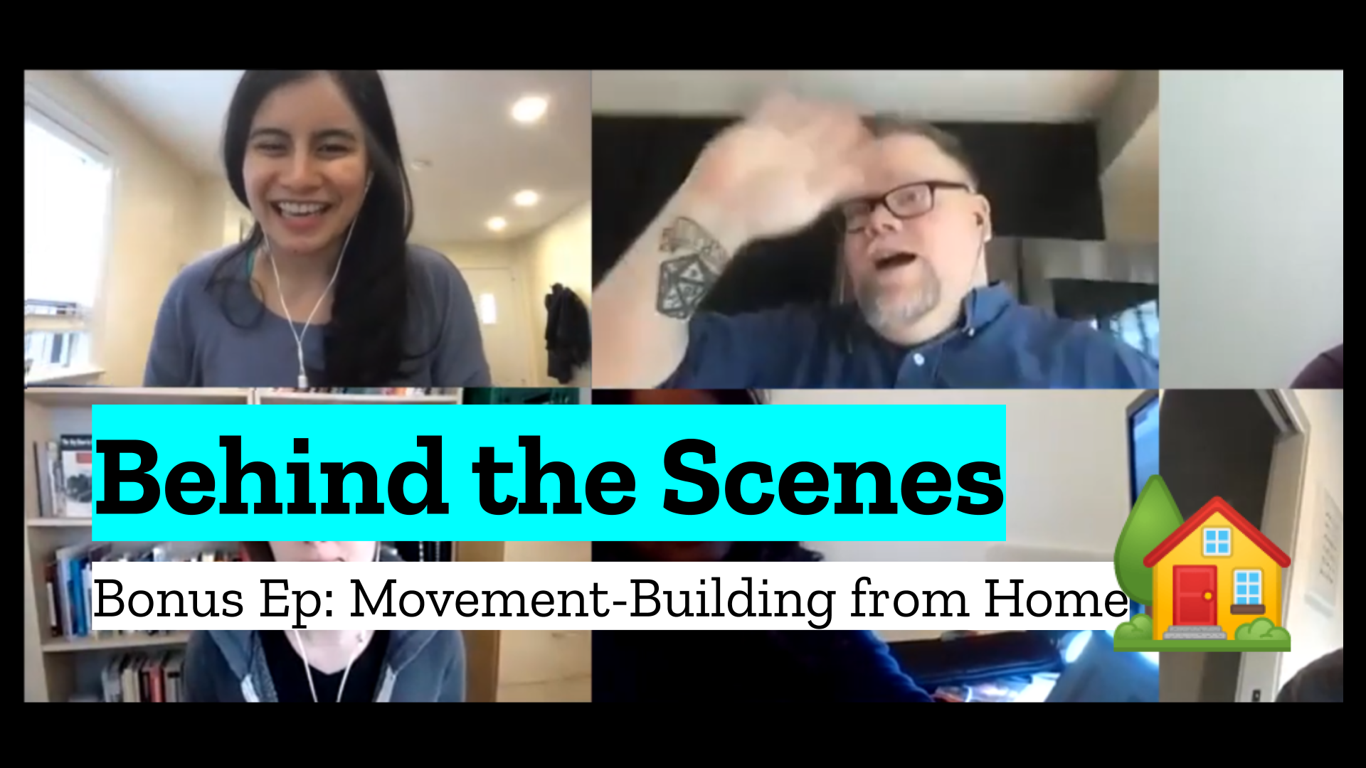 A title card for the bonus episode our Movement-Building from Home call featuring co-hosts Abby & Chad