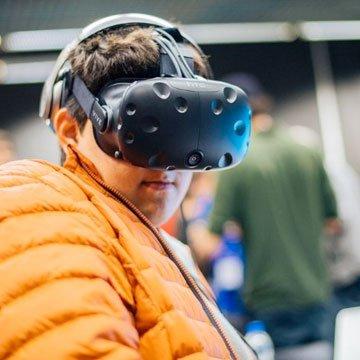 A person using a virtual reality headset