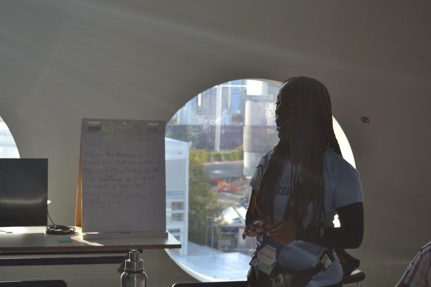 Uffa Modey of Digital Grassroots speaking at the Mozilla Festival 2019.